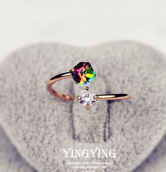 Rose gold Finger Rings Colorful Rhinestone Zircon Cuff Ring Wedding Engagement anillos For Women Gifts Resizable of R122