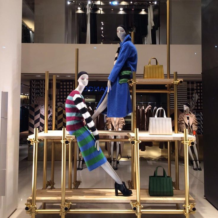"""MAXMARA, Milan, Italy, """"The architecture of our future is not only unfinished Patricia; the scaffolding has hardly gone up"""", mannequins by Bonaveri Italy, creative by Chameleon Visual, pinned by Ton van der Veer"""