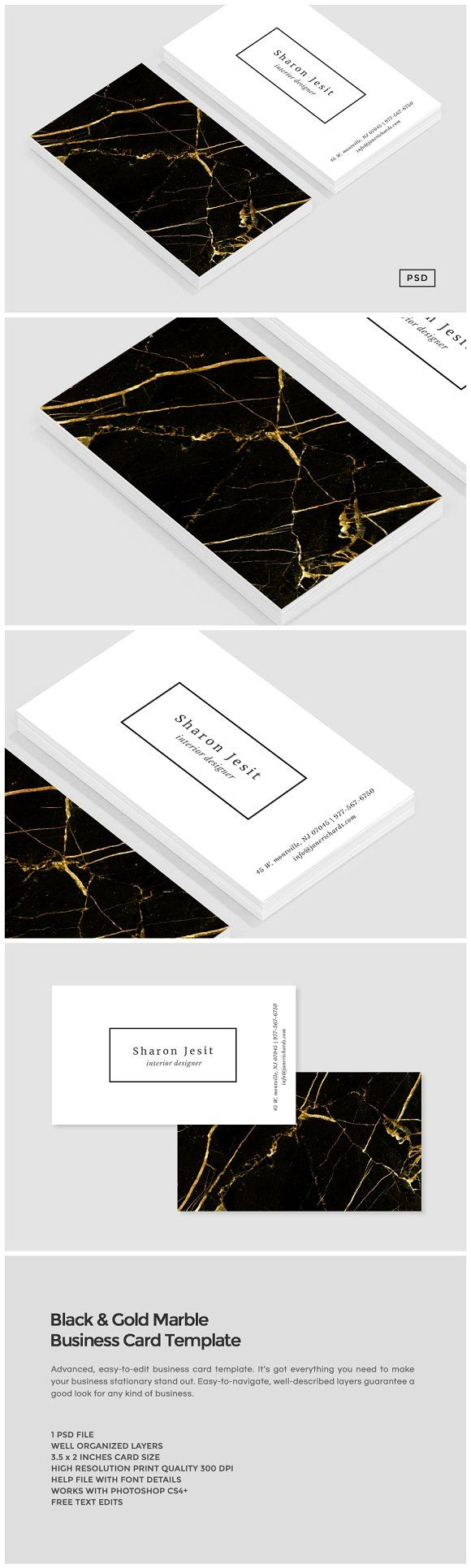 Black & Gold Marble Business Card by The Design Label on @creativemarket