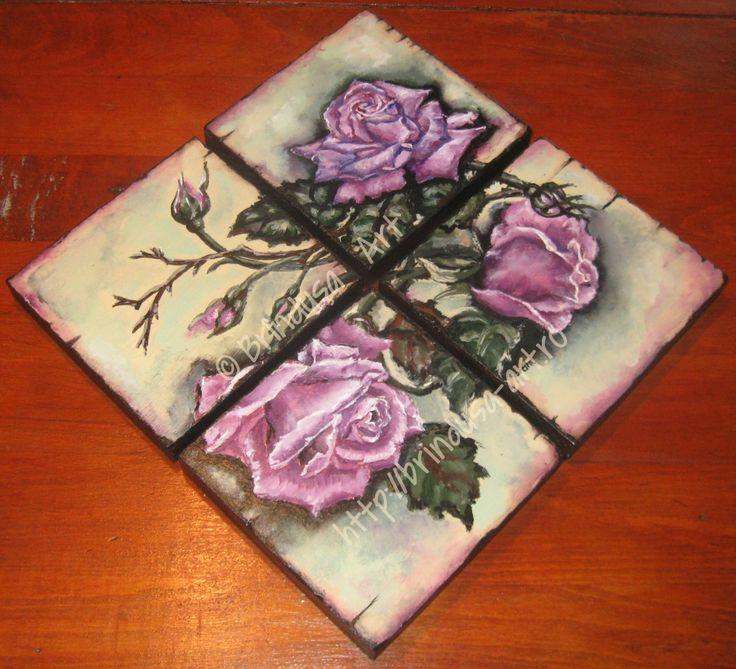 Brîndușa Art Four-piece painted set, acrylics on wood. Purple roses, wood painting. Set format din patru piese de lemn, pictate în culori acrilice. Trandafiri mov, pictură pe lemn. #roses #trandafiri #flowers #flori #purple #mov #woodpainting