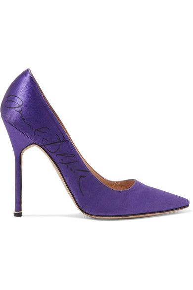 Vetements - Manolo Blahnik Printed Satin Pumps - Purple - IT