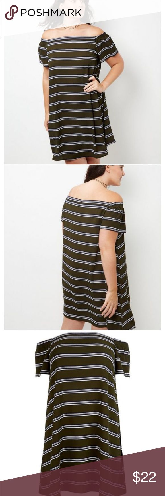 Olive green striped Bardot dress Go from day to night in this khaki stripe bardot neck dress. The ideal addition to your weekend wardrobe.  - All over stripe print - Bardot neckline - Simple short sleeves - Casual fit that is true to size - Mini length New Look Dresses Mini