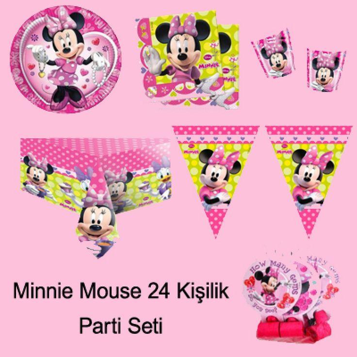 Minnie Mouse Parti Seti (24 Kişilik)   Mini Mouse 24 Kişilik Parti Seti içerisindeki ürünlerin listesi sıralanmıştır;  Minnie Mouse Tabak : 24 Ad. Minnie Mouse Bardak : 24 Ad. Minnie Mouse Peçete : 40 Ad. Minnie Mouse Temalı Karışık Renkli Balon : (20 Ad.) Minnie Mouse Masa Örtüsü : 2 Ad. Minnie Mouse Flama : 1 Ad. Minnie Mouse İyi ki Doğdun Yazısı : 1 Ad. Minnie Mouse İyi ki Doğdun Konuşma Balonu : 2 Ad. Pembe Lüks Plastik Çatal : 25 Ad.