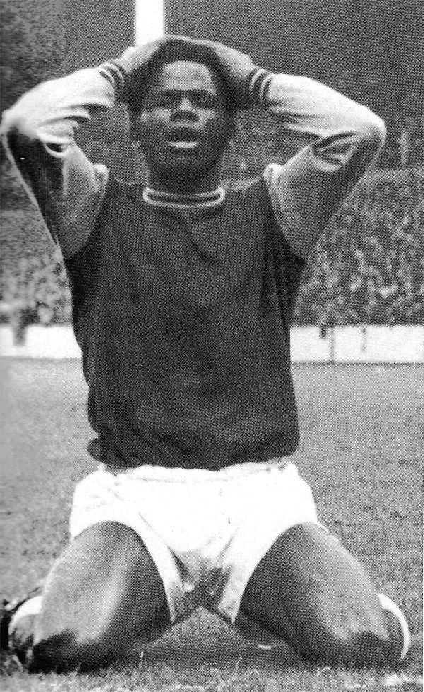 30th October 1971. West Ham United centre forward Ade Coker in despair during his debut against Crystal Palace, at Selhurst Park.