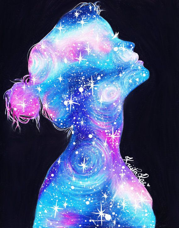Galaxy Girl Print by KristaRaeArt on Etsy, $25.00