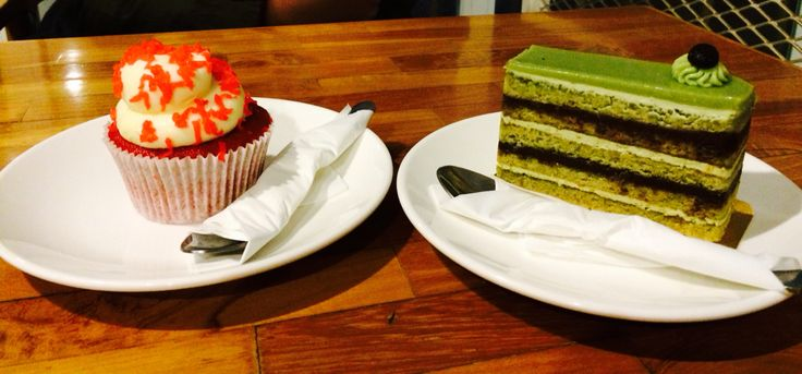 red velvet cupcake & matcha opera cake - at disini bakery jl. cikawao no 41 bandung