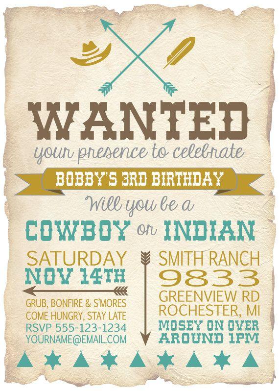 Cowboy and Indian Digital Invitation Cowboys by PaperPrinceParties