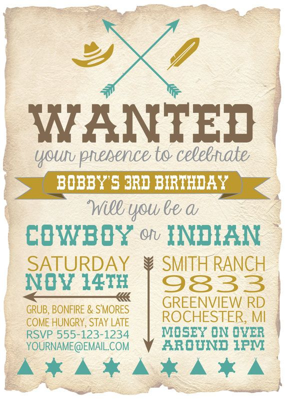 Cowboy and Indian Digital Invitation Cowboys by PaperPrinceParties