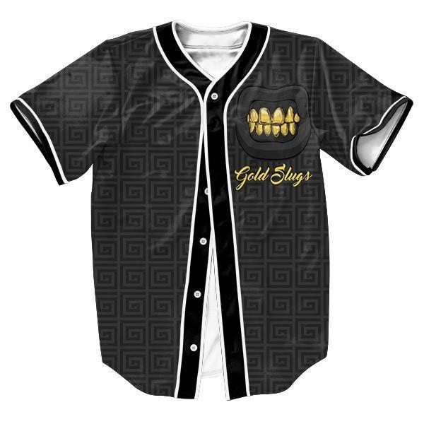 Men's Baseball-Style Gold Slugs Jersey Casual Top S-3XL