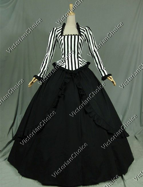 Civil War Victorian Steampunk Black White Stripes Ball Gown Dress Reenactment Stage Costume