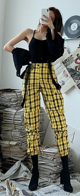 Yellow Plaid Loose Trousers ATTENTION: tFollow t…