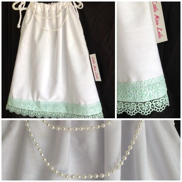 New from our 'Stella Bella collection'! White cotton pillow slip style dress with mint green guipure lace edging & double strand pearl necklace. www.facebook.com/littlemisslolas