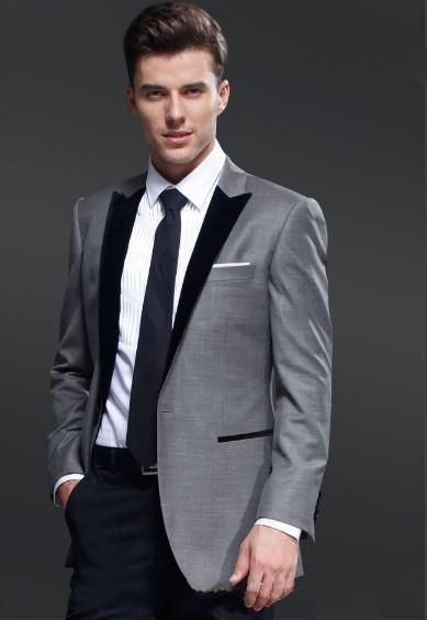10e219f1263 Terno Masculino(JacketPantVentTie)2Pieces Peaked Lapel Custume MadeOne  Button Fashion Men Suits High Quality