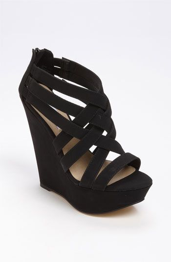 Steve Madden 'Xcess' Sandal - cute all black wedges.