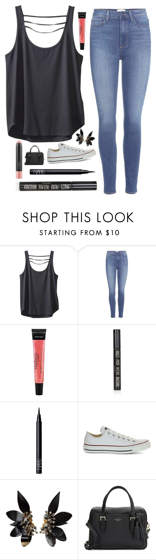 """""""Glossy """" by barbiecar ❤ liked on Polyvore featuring Kavu, Paige Denim, philosophy, Topshop, NARS Cosmetics, Converse, Marni, Kate Spade and MAC Cosmetics"""