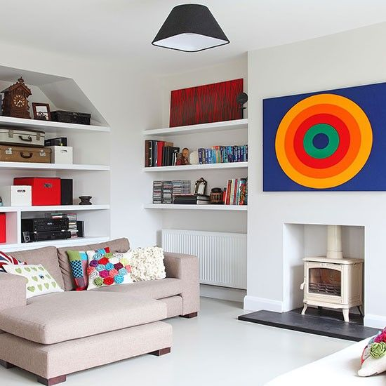 Open-plan white living room with modern art feature wall | Living room…