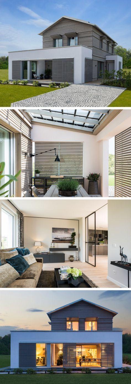 Energiesparhaus mit Loggia – Haus NaturDesign von Baufritz – Fertighaus bauen mi…   – Jasmin Jentsch