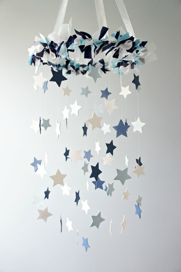 Star Mobile- Blue Nursery Mobile, Shower Gift, Photographer Prop. $63.00, via Etsy.