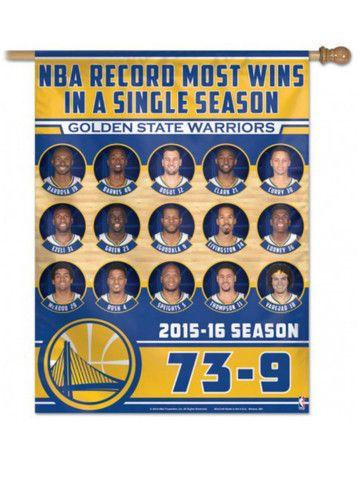 "Golden State Warriors 2016 NBA Most Wins 73-9 Roster Banner Vertical Flag 27x37"""
