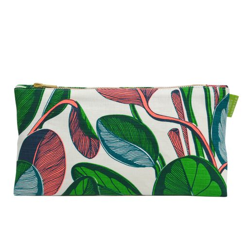 fanny shorter pink coral make up bag case wash cosmetics calathea zip hand printed lined linen gift mothers day magenta purple green christmas stocking filler her neon