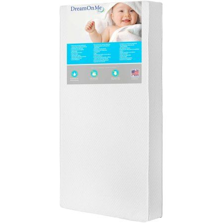 Dream On Me Lavender 6 inch 2-in-1 Foam Core Crib and Toddler Bed Mattress, White