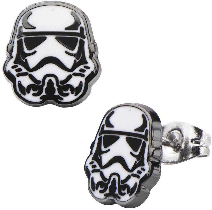 FINE JEWELRY Star Wars Stainless Steel and Enamel Stormtrooper Stud Earrings