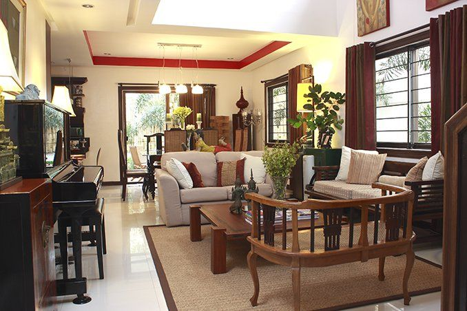 Ricky Chose Dark Heavy Wood For His Furniture Which He Paired With Neutral Walls And Oatmeal Small House Interior Design Small House Interior House Interior