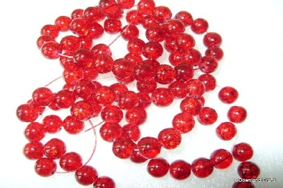 8mm Red Crackle Glass Rounds