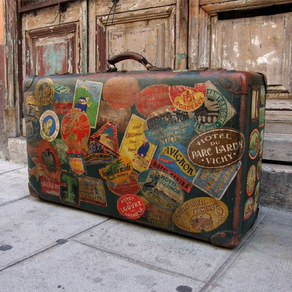 Stunning antique suitcase - Valise - Vintage French suitcase - Radio Monaco travelling case - Vintage luggage - Stickers - Travel trunk