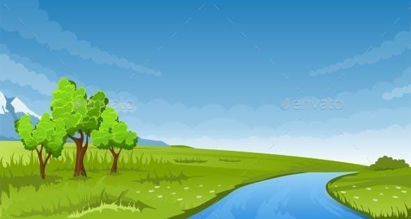 Summer Landscape Summer Landscape Nature Vector Nature Illustration