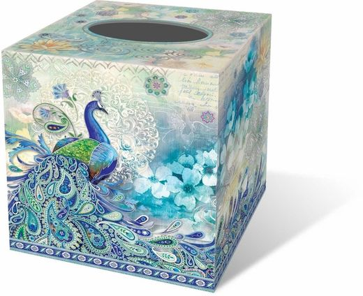 Paisley Peacock Tissue Box Cover - $11.99 - Increase the beauty of even the most mundane of rooms with this fabulous peacock tissue box holder! The wrap-around design in shades of blue is certain to please the eye.