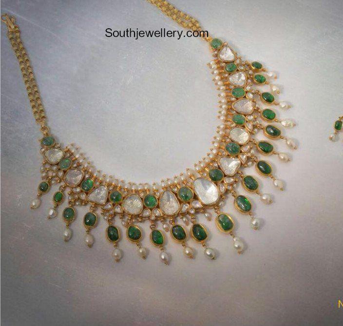 Polki Emerald Necklace
