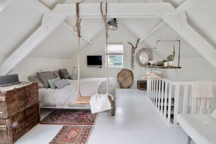 Gemütliches Dachgeschoss-Loft-Design und Dekoride…