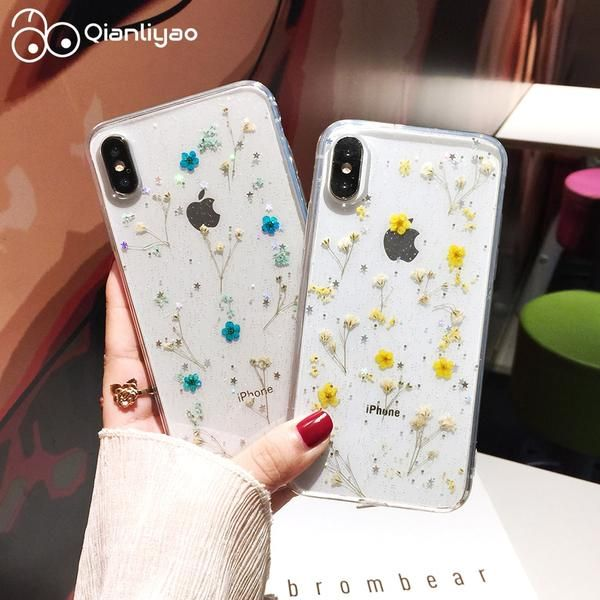 Real Flowers Dried Flowers Transparent Soft TPU Cover For iPhone X 6 6S 7 8 plus Phone Case For iphone XR XS Max Cover