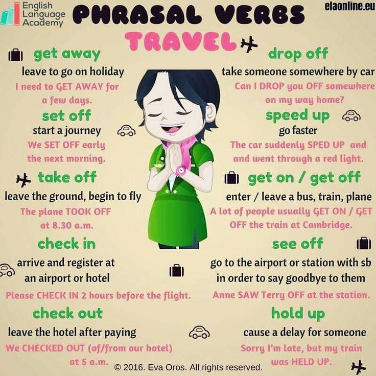 TRAVEL relevant Phrasal Verbs                                                                                                                                                                                 More