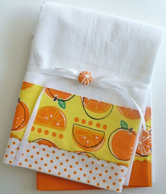 Kitchen towels with orange fruit pattern cotton fabric accent - set of two flour sack towels on Etsy, $26.00