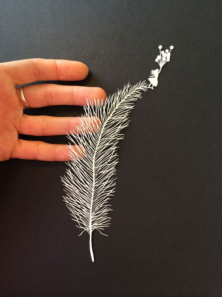 """Feather Elephant Hand-cut paper art by U.S.-based artist Maude White. Incredibly enough, White works by hand, using a craft knife to cut tiny lines and draw images with the paper's empty negative space. """"I have great respect for paper. When I cut, the thin membranous material reveals its strength to me,"""" the artist explains on her website. """"Paper is everywhere and it has been telling stories for centuries."""""""
