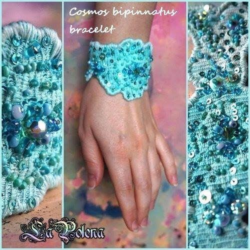 https://flic.kr/p/ExgD9i   Cosmos bipinnatus bracelet   Hand dyed vintage Hungarian lace, beaded sequined wrist wrap bracelet, vintage faceted glass bead. Freeform felt jewelry.