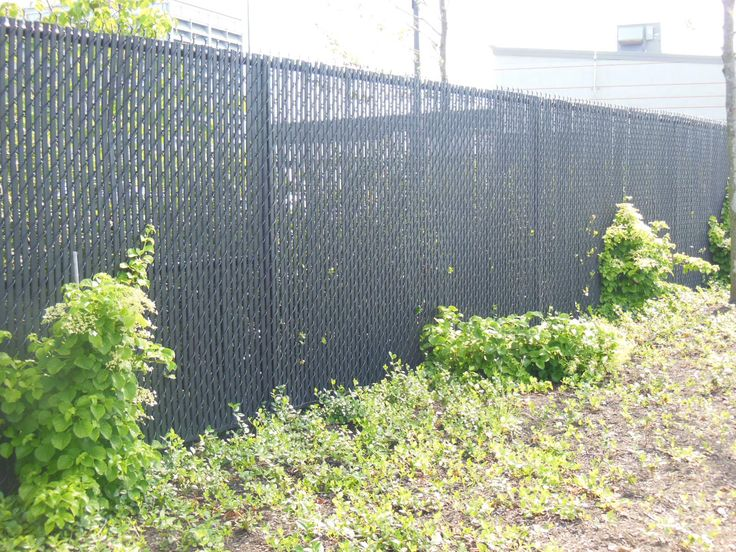6' Black Chain Link Fence with PVC privacy slats.