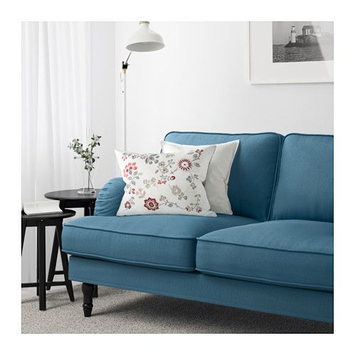 Loving this blue but it might clash with the greenish wallpaper :: STOCKSUND Sofa, Ljungen blue, black/wood Ljungen blue black