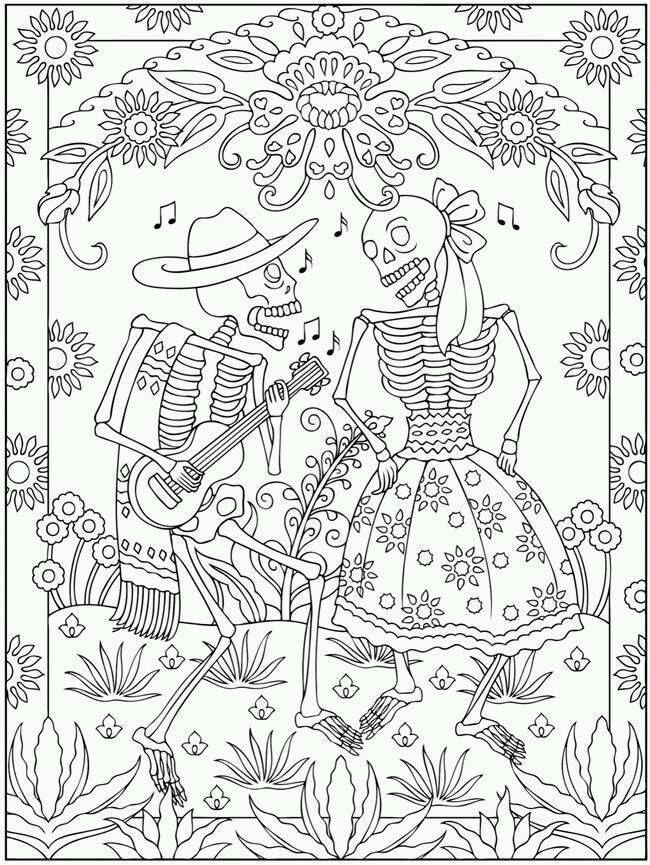 day of the dead dia de los muertos coloring pafe - De Los Muertos Coloring Pages