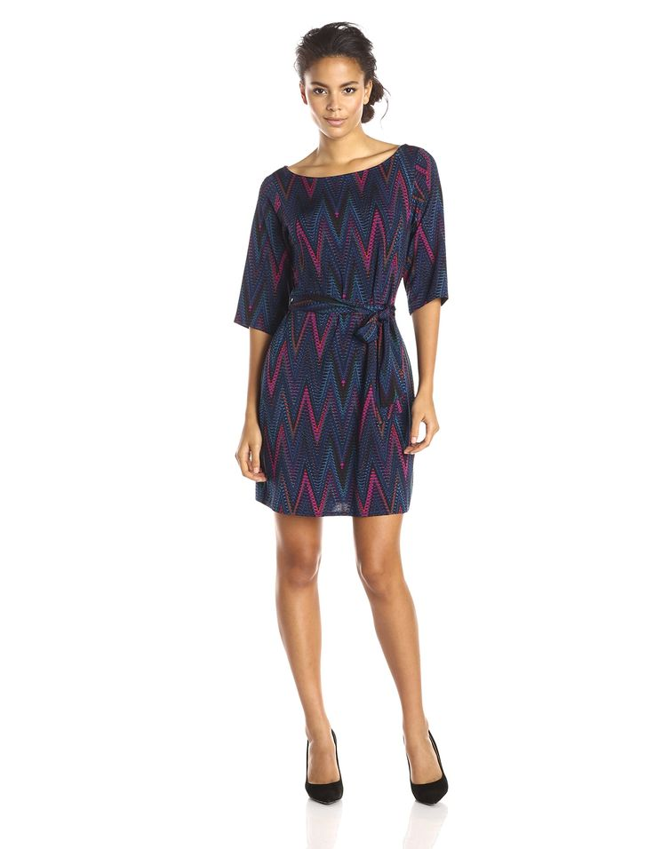 Leota Women's Reversible Belted Nouveau Sheath Dress, Chevron Jewel, Medium. Wrinkle free comfortable casual work to dinner. Great for travelling wear to work wear to dinner casual.
