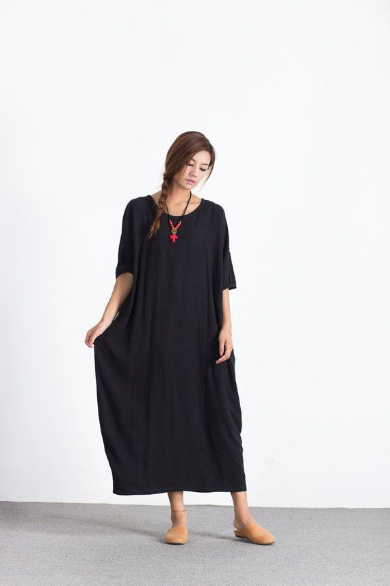 5dc5a6e4f5039 Women s linen cotton maxi dress cotton caftan loose linen kaftan plus size  dress spring autumn cloth