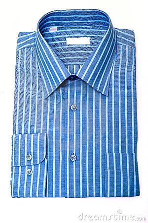 Men's shirt in blue with white stripes close-up isolated on a white background