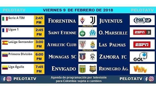 Agenda Futbolera #Televisión #EnVivo #Colombia #Partidos #Futbol #LigaAguila #futbolcolombiano #futbolcolombia #cervezaaguila #rionegroaguilas #envigadofc #juventus : @pelotatv