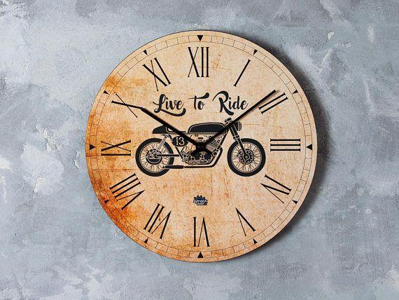 Motorcycle clock garage decor cafe racer clock mancave