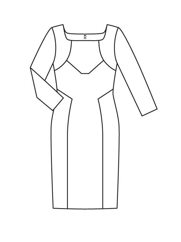 Sukienka-case z prostokątnym dekoltem - liczba Wzór 124 Magazyn 8/2015 Burda - wzory na sukienki Burdastyle.ru