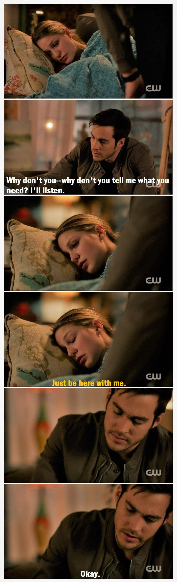 Why I <3 these two: Kara's essentially physically indestructible. Emotionally, she's so vulnerable that she retreats into herself. Mon-El (when paying attention) has a natural  read on emotions, esp. Kara's. By just being there with her, being himself while she's upset & not asking her to describe her feelings, he's comforting her.  |TV Shows||CW||#Supergirl edit||Season 2||2x14||Homecoming||Kara x Mon-El||#Karamel edit||Kara Danvers||Melissa Benoist||Chris Wood||#DCTV|