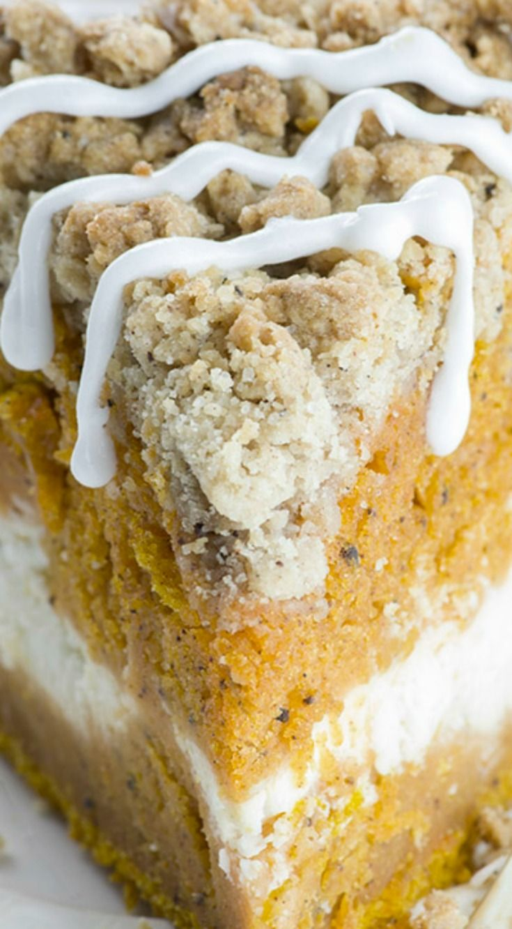 Pumpkin Coffee Cake ~ Spiced pumpkin cake with cream cheese filling in the…