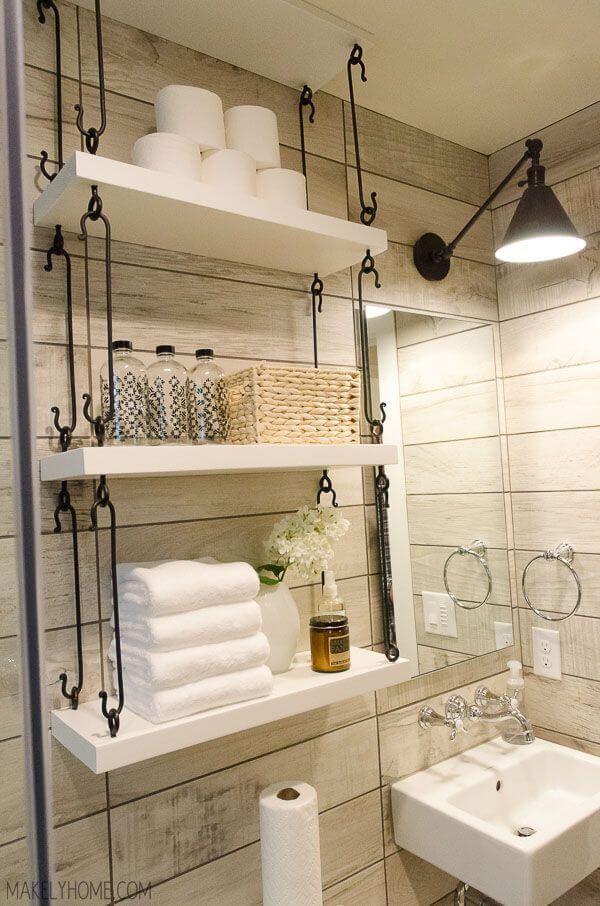 great shelves in farmhouse style bathroom